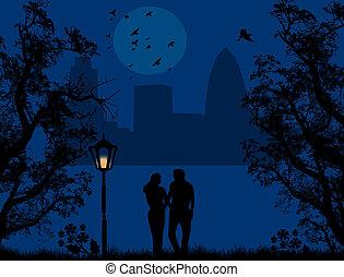 pareja, en, un, parque de la ciudad