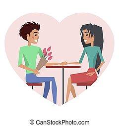 pareja, enamorado, hombre, con, flor, vector, ilustración