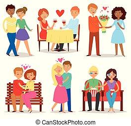 pareja, enamorado, vector, amantes, caracteres, en,...