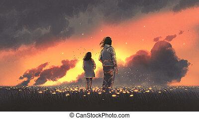 pareja, encendido, tierra, flores