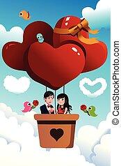pareja, equitación, un, globo del aire caliente