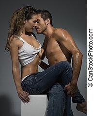 pareja, escena, erótico, tener relaciones sexuales,...