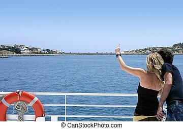 pareja, espalda, en, azul, vacaciones, crucero, barco