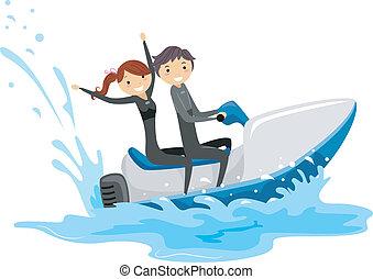 pareja, esquí, chorro