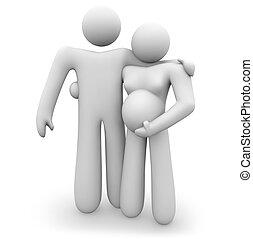 pareja, -, expectante, se abrazar, bebé, aguardar