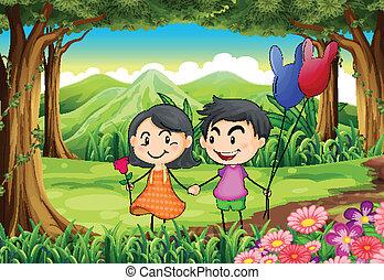 pareja, fechando, selva