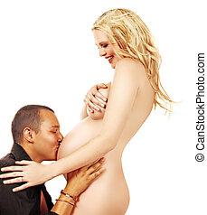 pareja, feliz, embarazada
