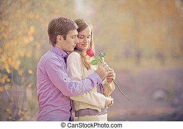 pareja, feliz
