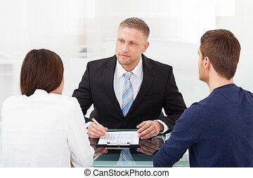 pareja, financiero, el consultar, consejero