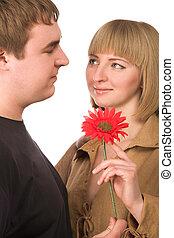 pareja, flor