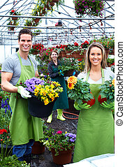 pareja, flor, trabajando, floristas, shop.