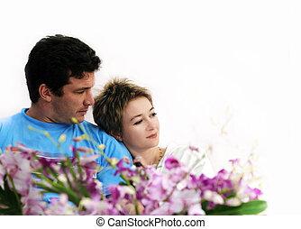 pareja, flores