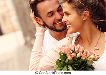 pareja, flores, joven, romántico