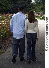 pareja, flores, romántico, paseo