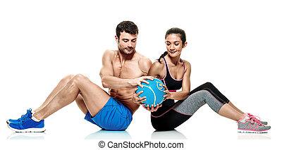pareja, hombre y mujer, condición física, ejercicios, aislado