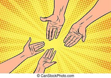 pareja, hombre y mujer, manos, un, gesto, de, amor
