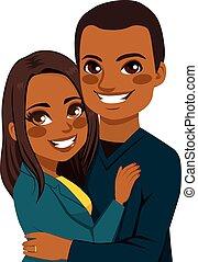 pareja hugging, norteamericano, africano