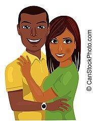pareja hugging, norteamericano, juntos, africano