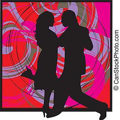 pareja, ilustración, bailando
