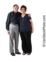 pareja, indio este, anciano