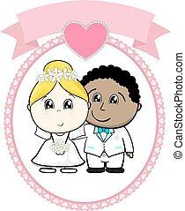 pareja interracial, boda