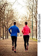 pareja, jogging, juntos
