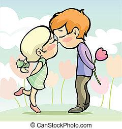 pareja, joven, amoroso