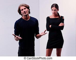 pareja joven, arguing.the, concepto, de, conflict.
