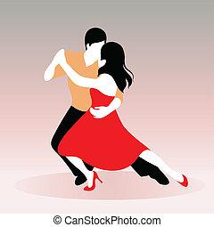 pareja, joven, bailando