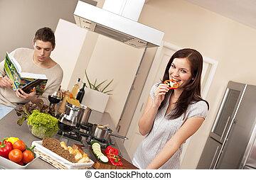 pareja joven, cocina, en, moderno, cocina