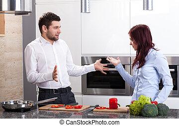 pareja, joven, cocina