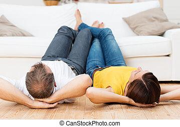 pareja joven, compartir, un, relajante, día