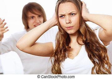 pareja, joven, conflicto