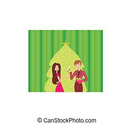 pareja joven, coqueta, y, bebida, champaña, cerca by, árbol de navidad
