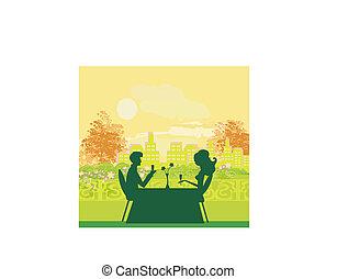 pareja joven, coqueta, y, bebida, champaña