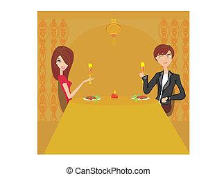 pareja joven, coqueta, y, bebida