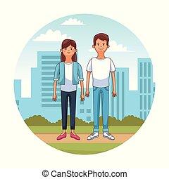pareja joven, en, ciudad