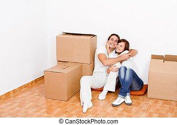 pareja joven, en, nuevo, primera casa