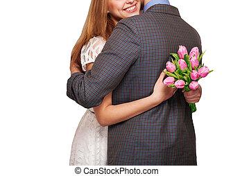 pareja joven, enamorado, sostener un ramo, de, tulips., el, concepto, de