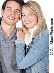 pareja, joven, feliz
