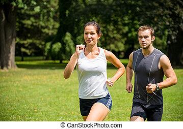 pareja, -, joven, juntos, jogging, competir