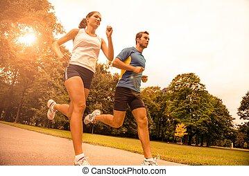 pareja, -, joven, juntos, jogging, deporte