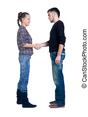 pareja joven, mano, shake.