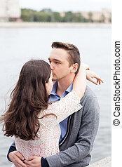 pareja joven, mourns, because, de, parting., difícil, período, en, el, relación