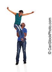 pareja, joven, norteamericano, africano, diversión, teniendo