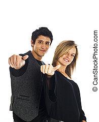 pareja, joven, positivity que expresa