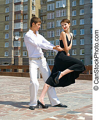 pareja, joven, tango, bailando