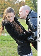 pareja joven, teniendo, problemas de la relación