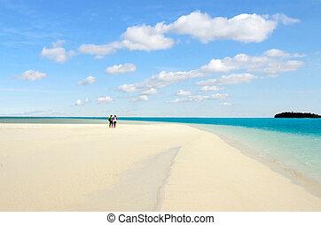 pareja joven, visita, aitutaki, laguna, islas de cocinero