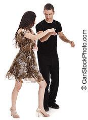 pareja, juntos, bailando